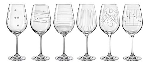 Bohemia Kristall Gläser - Elements - 6 er Set- mit verschieden Ornamenten (Weinglas 6 x 450 ml)