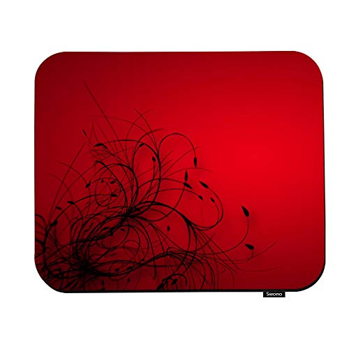 Swono Red Flower Mouse Pads Abstract Red Paranormal Flowers Background Mouse Pad for Laptop Funny Non-Slip Gaming Mouse Pad for Office Home Travel Mouse Mat 7.9'X9.5'