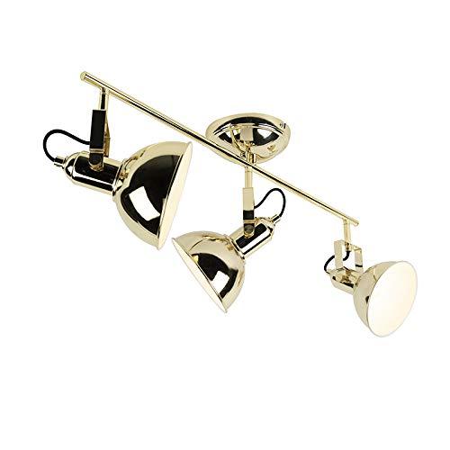QAZQA Industrie/Industrial Art Deco Spot/Spotlight/Deckenspot/Deckenstrahler/Strahler/Lampe/Leuchte Gold/Messing 3-flammig Spotbalken-Licht - Tommy/Innenbeleuchtung/Wohnzimmerlampe