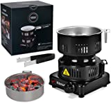 Coal Burner Charcoal Burner Electric Portable Hot Plate Stove ETL Approved with Smart Heat Control&Detachable Handle for Camping Coconut Coal Cubes BBQ (600W)