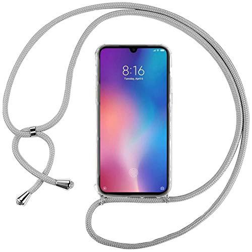 Ingen La Custodia Trasparente per Cellulare per Xiaomi Mi 9SE con Cordino può Essere trasportata Casualmente Come Una Borsetta o Una Tracolla Quando esci-Grigio