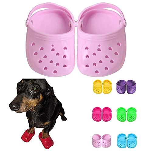 TikTok Zapatos para perros para pavimento caliente en verano, sandalias para perros de malla suave y transpirable con suela antideslizante resistente, zapatos cómodos ajustables para perros (Pink)