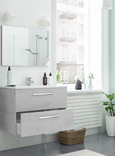 Piushopping Mobile Bagno Sospeso 80cm 2 Cassetti Legno Specchio Lavabo Ceramica Arredo Cemento