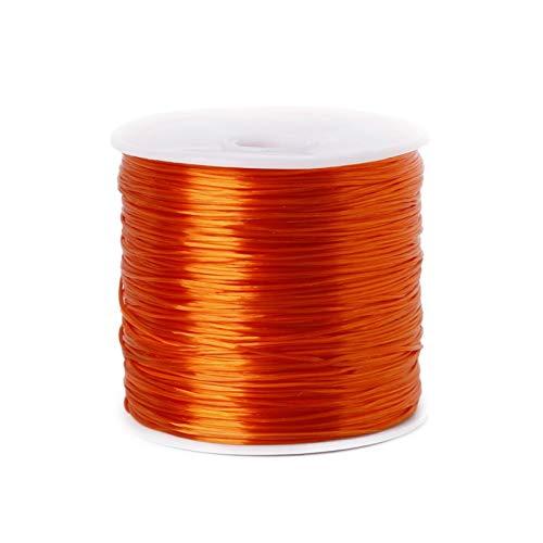 HLH 50 m/rollo de cordón elástico para hacer joyas, cuerda elástica de 0,7 mm, pulsera y accesorios de collar (color naranja, tamaño: 50 metros)