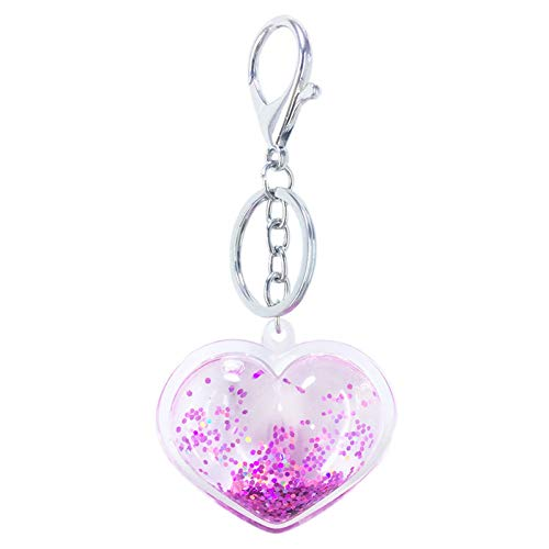 MINTUAN Fashion Lovely Peach Heart Key Chain Pendant Acrylic Love Lady Bag Car Pendant Effect Quicksand Pendant Small Gifts