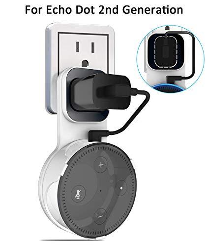 Echo Dot Wall Mount Outlet Hanger - Idealife Speakers Holder for Dot 2nd Generation Speaker Alexia Echo Dot Bracket Plug Mount with Alexa Short Charging Cable, Space-Saving Speaker Hanger (White)