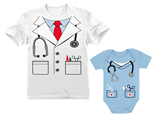 Fantasia de Doutor Dia das Bruxas, camisa de papai, body de bebê combinando para pai e filho, Masculino, branco/Baby Aqua, Men Medium / Baby NB (0-3M)