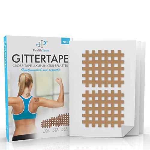 Gittertape Cross Tape – Original Health Press – Größe Typ C – Gitterpflaster Akupunkturpflaster mit ausführlicher E-Book Anleitung zum Download