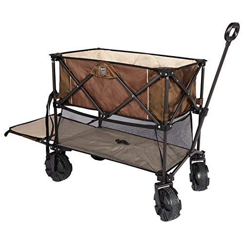 Timber Ridge Folding Double Decker Wagon Heavy Duty Collapsible Cart with Big Wheels for Beach Shopping Garden