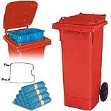BRB 80 Liter Mülltonne rot mit Halter für Müllsäcke, inkl. 250 Müllsäcke