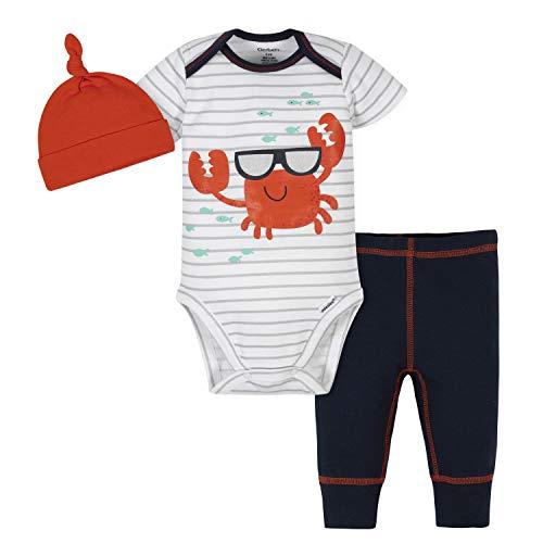 Gerber Conjunto de Mono de 3 Piezas para bebé, pantalón y Gorra, Rojo (Red Crab), 18 Meses