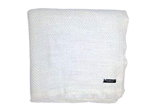 Annapurna Cashmere Luxus Kaschmir Decke aus 100% Kaschmirwolle, 125 cm x 250 cm, Handgewebt aus Nepal (Weiß Fischgrat)