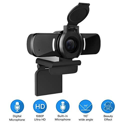 LarmTek Webcam mit Mikrofon,Pc Kamera mit Webcam-Abdeckung,1080p Webcam für Live-Streaming-Spiele bei Videokonferenzen,DE,W5