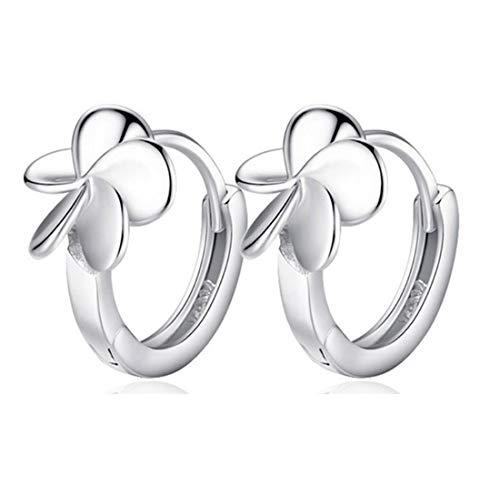MapleMiss Anillos de oído - Pendientes Hoja de la Flor Pendientes de la Flor Blanca de Plata Cinco Pendientes Plateados geométrico Floral Simple