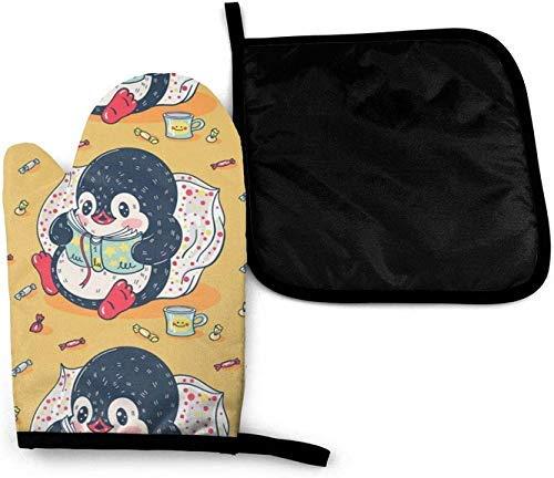 Kaswtrb Cute Zoo Color Penguin Candy Búho Lindo Dibujos Animados Calabaza Halloween Horno de microondas Mitones y Porta ollas Juego de Cubierta