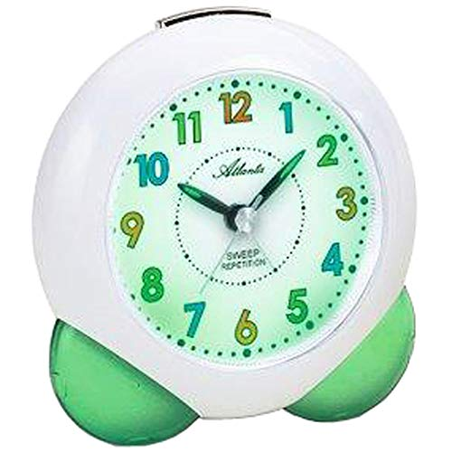 Atlanta – Reloj despertador de cuarzo – Reloj despertador infantil – Carcasa de plástico blanco/verde – Segundero lento