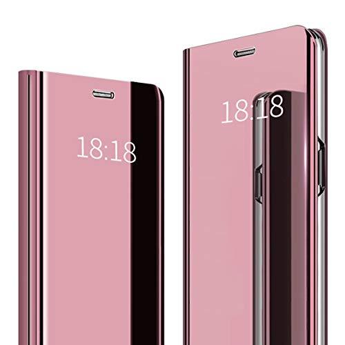 WUFONG Funda para Xiaomi Redmi Go, Funda de Cristal para teléfono Espejo, Funda Inteligente, Funda Plegable con Espejo, Funda para teléfono Inteligente,Caja de teléfono móvil Anti-caída(Rosa )