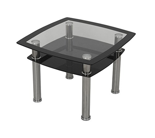 Modern Black Glass Lamp, End or Side Table with Lower Suspended Black Glass Storage Shelf and Silver Coloured Chrome Legs, Table Top Size of 60cm x 60cm