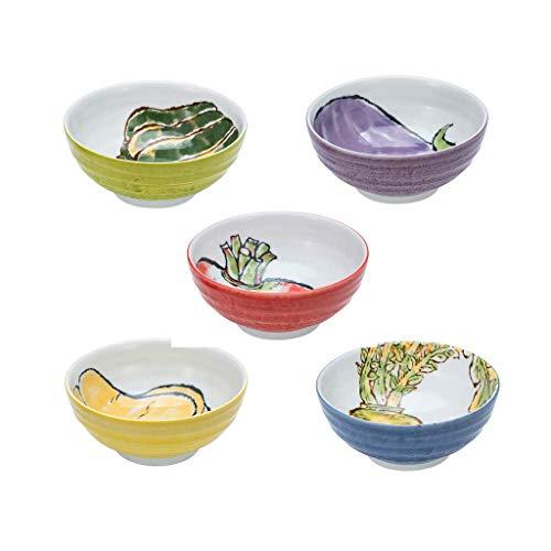 JUNYYANG Tazón de cerámica del hogar Big Bowl Noodle Bowl Placa Cubiertos Sopa de época Tazón de Empleo Cubo Tazón Ramen Cuenco Plato de Arroz de 5 Piezas