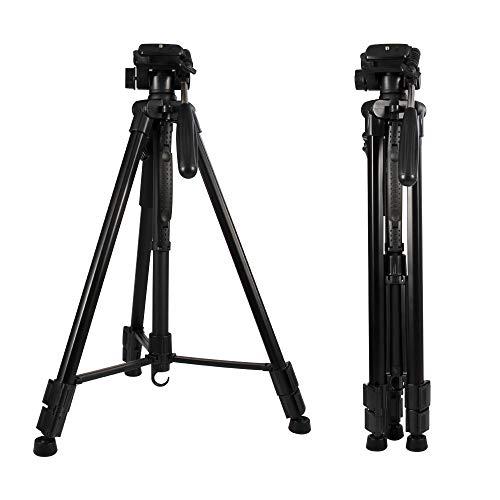 Trípode Cámara 160cm/62.99 Inch para DSLR/Gopro/Smartphone Soporte, Portátil Aluminio Trípode con Placa Liberación Rápida para Sony Nikon Canon Cámara, 4Kg Carga 360° Panorama Fotografía