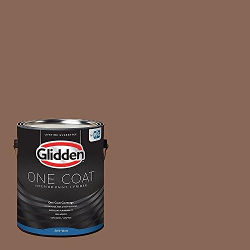 Glidden Interior Paint + Primer: Brown/Suede Leather, One Coat, Semi-Gloss, 1-Gallon