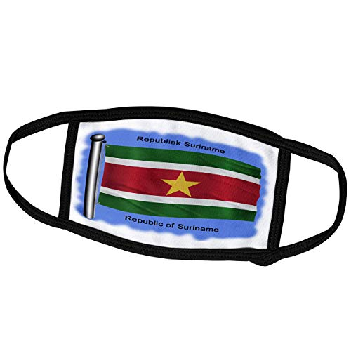 Promini Monatsmaske – Bilder Flaggen und Karten – Südamerika – Suriname Flagge winkt auf blauem Hintergrund – Republik Suriname auf Englisch und Niederländisch – Staubmaske Outdoor-Schutzmaske