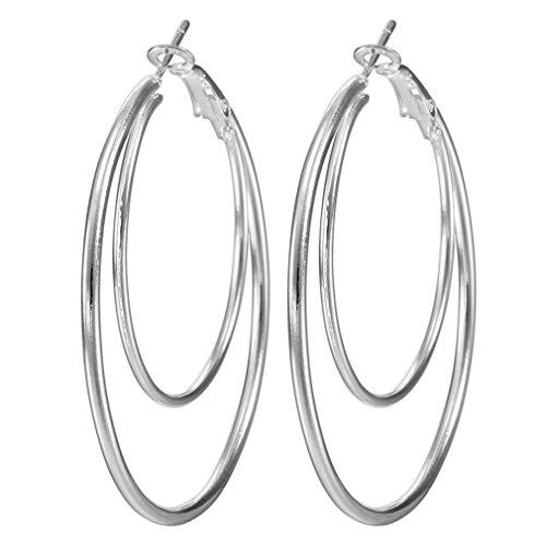 Bigood - Pendientes de aro para mujer de plata de ley, diseño de círculo grande, color blanco