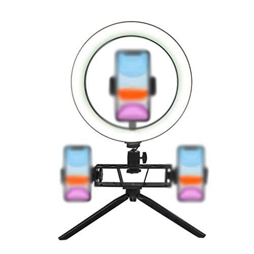 Escritorio Luz de Anillo 10 Pulgadas con Soporte de Escritorio, Luz de Círculo LED Ajustable con Trípode Extensible, Alimentado por USB, Soporte para Teléfono, Grabación de Video, Cámara Universal