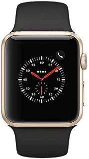 Apple Watch Series 2 Smartwatch 42mm Gold Aluminum Case Black Sport Band (Black Sport Band) (Renewed) (Black)