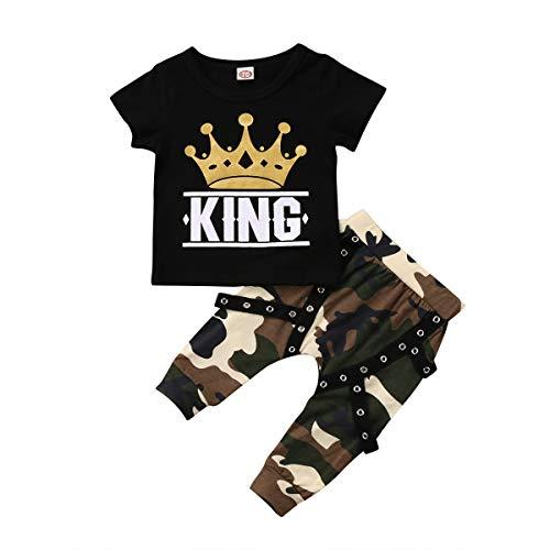 Conjunto de ropa de bebé para niños y niñas, camiseta de manga larga y pantalón de camuflaje Camouflage Manche Courte 12- 18 Meses