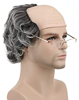 Karlery Short Curly Fits Old Man Bald Cap Gray Mad Scientist Halloween Cosplay Wig Anime Costume Party Wig