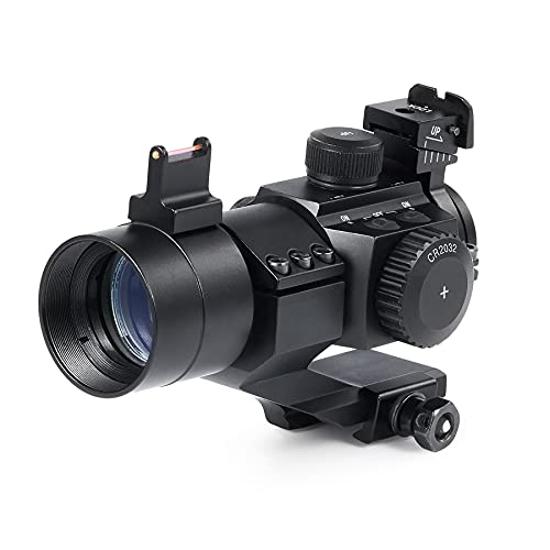 Pinty 4MOA Red Green Dot Sight for Weaver and Picatinny Rail Mounts, Tactical Reflex Sight with Multicoated Lenses, Fiber Optic Sight for Rifles Pistols BB Pellet Airsoft Guns More, Battery Included