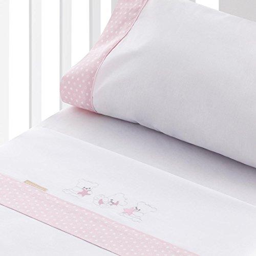 Burrito Blanco Juego de Sábanas de Coralina Blancas con Bordado de Ositos Luna y Estrellas de Bebé para Cuna de 60x120 cm, Rosa