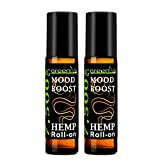 7,500mg Hemp Infused Mood Boost Roll-On Therapeutic Essential Oil Blend of 7,500mg C02 Extracted Hemp, Grapefruit Pink, Geranium, Bourbon, and Tangerine. (2 Pack)