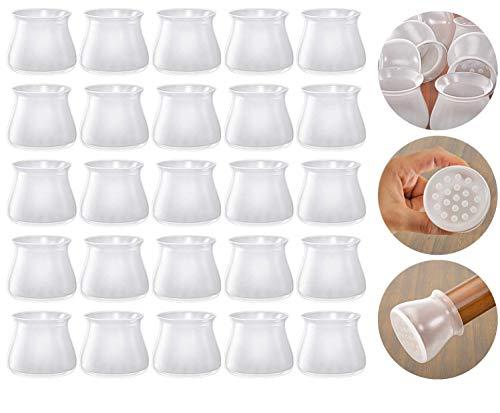 Copertura di protezione in silicone per gambe di sedie, 36 pezzi tappi per gambe in silicone per piedi rotondi per mobili (trasparenza)