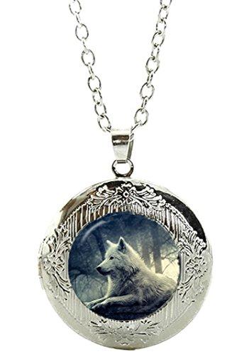 Merchandise for Fans Wolf Amulett zum Öffnen - Halskette mit Anhänger aus Glas und Kette/Silberschmuck/Indianerschmuck - 01
