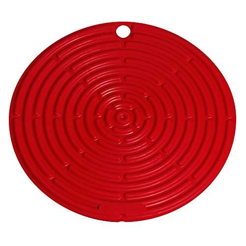 Le Creuset Topflappen/Untersetzer aus Silikon mit Aufhängeöse, Klassik Rund, Durchmesser: 20 cm, Silikon, Kirschrot