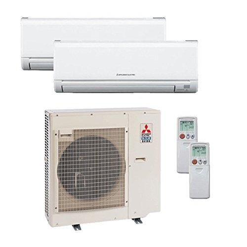 Mitsubishi 36,000 Btu 19 Seer Dual Zone Ductless Mini Split Heat Pump System (AC and Heat) - 18K-18K