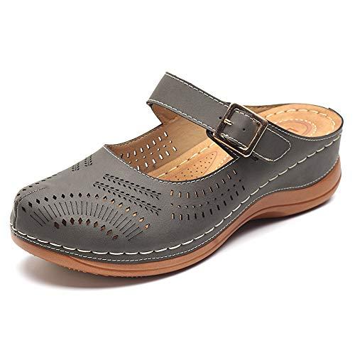 gracosy Mules Donna Zoccoli Pantofole in Pelle Estate Loafer Gomma Spiaggia Sandali Svuotare Piatto Scarpe Slip-On Backless Antiskid Mary Jane Boemo