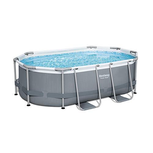 Alice's Garden - Kit de piscina completo Bety – Espinela gris – Piscina ovalada tubular 3 x 2 m, bomba de filtración y kit de reparación incluido