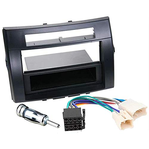 Sound-way Kit Montaggio Autoradio, Mascherina 1 DIN / 2 DIN, Cavo Adattatore Connettore ISO, Adattatore Antenna, compatibile con Toyota Corolla Verso 2004-2009