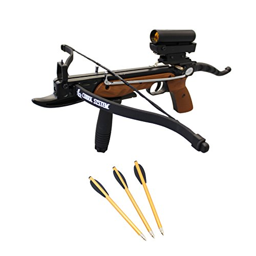 Prophecy 80 Pound Aluminum Self-Cocking Pistol Crossbow with Cobra System Limb Package with Red Dot Scope + Pack of Bolts + Stringer, Wood