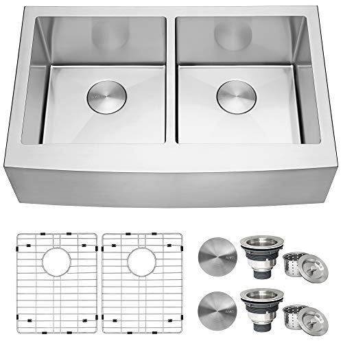 Review Of Ruvati 33-inch Farmhouse Apron-Front 50/50 Double Bowl Kitchen Sink Stainless Steel - RVH9...