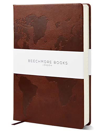 Reisetagebuch von Beechmore Books of London | 14,6x21cm | Veganes Leder Hardcover Notizbuch mit Reise-Checklisten und 8 Reiseabschnitten | Kastanienbraun