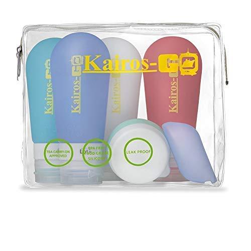 KAIROS-GO Lot de 6 flacons de toilette de voyage en silicone résistant aux fuites et approuvé par TSA, support de brosse à dents portable et pot à crème dans un étui transparent