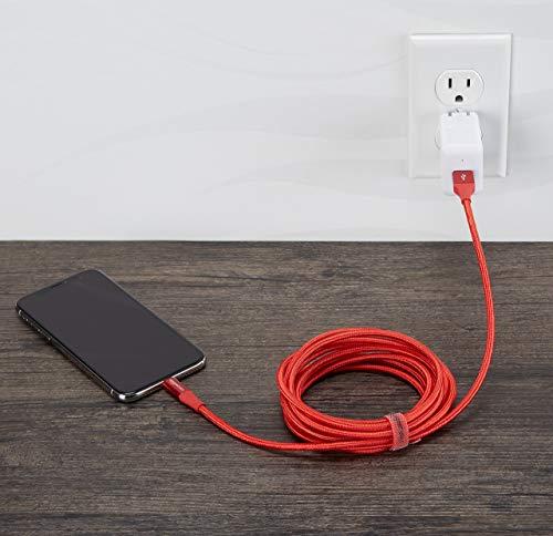 Amazon Basics - USB-A auf Lightning-Kabel mit doppelt geflochtenem Nylon - Apple MFi-zertifiziert, Rot, 3 Meters