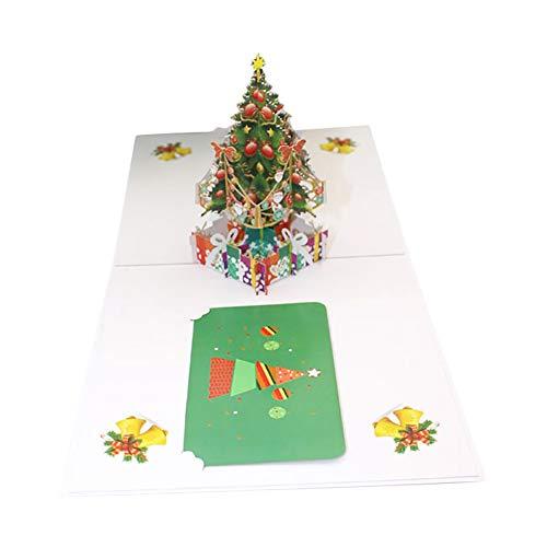 Topdo Sobre de Tarjeta de felicitación con 3D Pop Up Feliz Navidad Tarjeta de felicitación Cumpleaños Tarjeta de invitación de Año Tarjetas de Papel Artesanía 1 Pieza Azul 20 * 15cm
