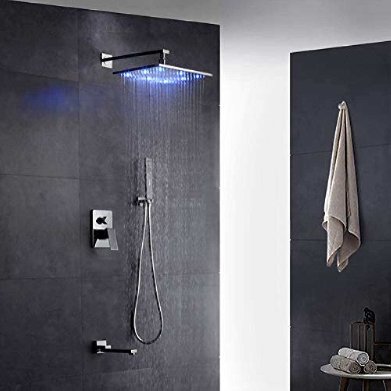 LED-Duschsystem, LED-Licht-Duschhahn-Set Quadratischer ...