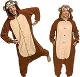 Silver Lilly Monkey Gorilla Animal Costume Unisex Adult Pajamas - Plush One Piece Cosplay (S)