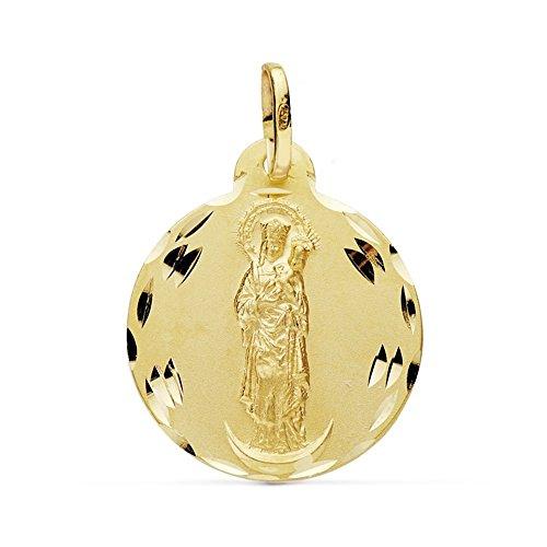 Medalla Oro 18K Virgen Almudena 20mm. [Ab0777Gr] - Personalizable - Grabación Incluida En El Precio